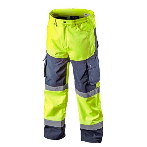 Softshell Warnschutzhose mit Reflektionsstreifen orange neon gelb Arbeitshose Warnschutz Sicherheitshose M neongelb
