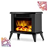 DONYER POWER 13' Height Mini Electric Fireplace Tabletop Portable Heater, 1500W, Black Metal Frame,Room Heater,Space Heater,Gift