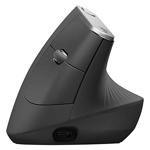 Logitech MX Vertical Wireless Mouse – Advanced Ergonomic Design Reduces Muscle Strain,...