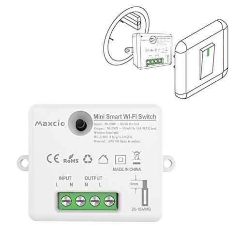 Maxcio Interruttore WiFi Alexa, Compatibile con Alexa e Google Home, Smart Interruttore della Luce, Controllo Vocale, Telecomando con Smart Life, Recevitore con Timer e Condivisione 16A/3520W - 1 Pack