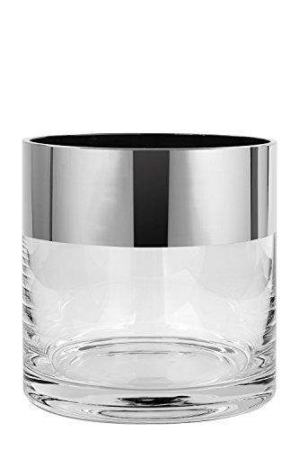 Fink - Malik - Windlicht - Vase - Glas mit breitem Platinrand - Maße (ØxH): 12 x 12 cm