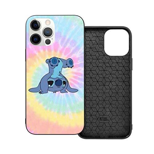 NGNHMFD Colorfull Stitch Compatible con iPhone 11 Pro Max 12 Pro Max Mini SE 2020 6/6s 7/8 Plus X XS XR Funda Negro Teléfono Funda