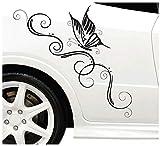 DD Dotzler Design Blumenranke Schmetterling Auto Aufkleber für Motorhaube Heckscheibe Tuningsticker Autodekor Tattoo Auto Ranke 58 x 25 cm (schwarz, 96 x 38 cm)