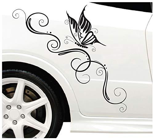 DD Dotzler Design Blumenranke Schmetterling Auto Aufkleber für Motorhaube Heckscheibe Tuningsticker...