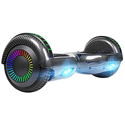 """UNI-SUN Hoverboard for Kids, 6.5"""" Two Wheel Electric Scooter, Self Balancing Hoverboard with LED Lights for Adults, UL 2272 Certified Hover Board,Bluetooth Carbon Black"""
