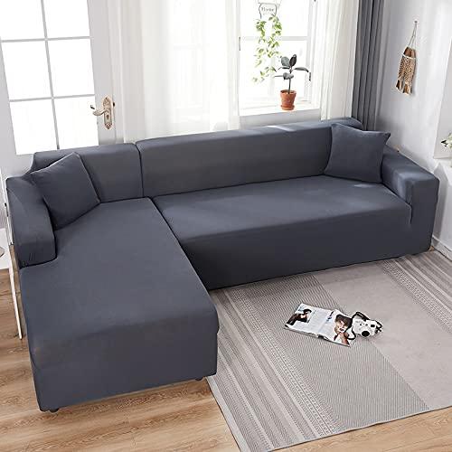 WXQY Cubierta de sofá de Esquina de Color sólido para Sala de Estar Cubierta de sofá de Spandex elástica Cubierta de sofá con Todo Incluido Toalla de sofá A6 2 plazas