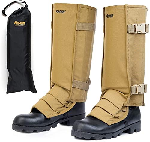 Razer Gaiters, Snake Gaiters with Storage Bag, Lower Leg Protection (Tan)