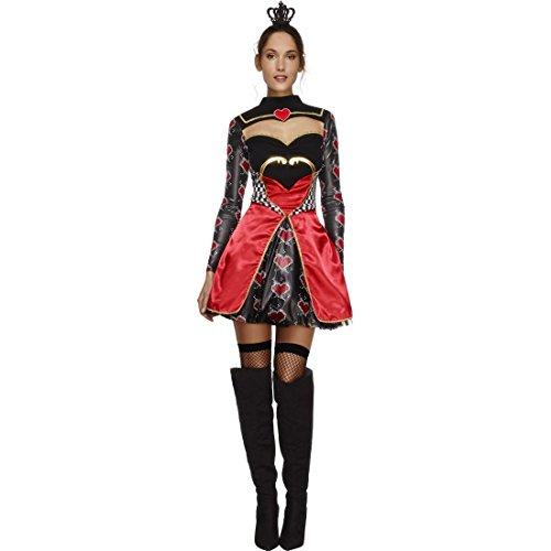 Amakando Herzdame Damenkostüm - M (38/40) - Queen of Hearts Outfit Herzkostüm Frauen Verkleidung Königin der Herzen Märchenkostüm Karneval Herzkönigin Kostüm