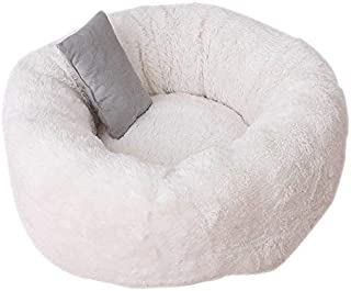 Apostasi Pets Shag Plush Donut Cuddler Calming Bed Round Plush Cat Dog Mat Sleeping Bed with Pillow for Deluxe Pet Bed for...