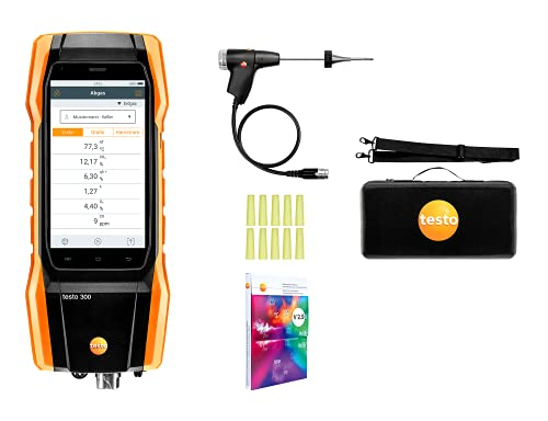 testo 300 I Residential and Commercial Combustion Analyzer Kit with optional bluetooth printer I CO Meter for flue gas, draft, differential pressure and ambient CO levels of heating systems