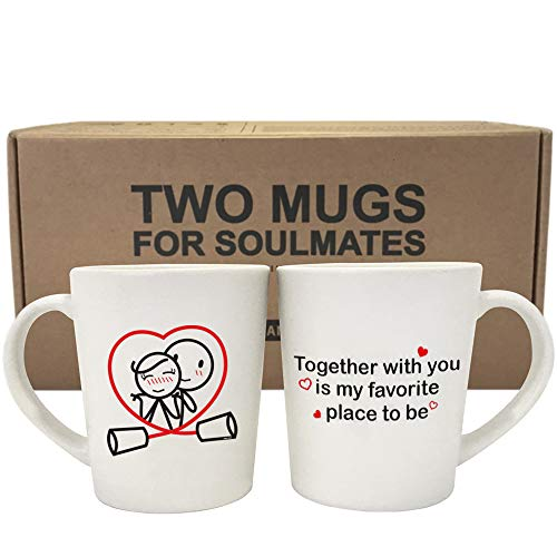 BOLDLOFT Together is My Favorite Place to Be Couple Coffee Mugs-Couple Gifts for Anniversary Wedding Newlyweds Cute Gifts for Boyfriend Girlfriend Husband and Wife Gifts Long Distance Relationships
