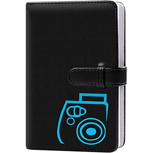 96 Pockets Wallet Fotoalbum mit PU-Leder, kompatibel mit Fujifilm Instax Mini 11 / 7S / 8/8 + / 9/25 / 26/90 / 70 / 50s Sofortbildkamerafilm und Polaroid Snap (Black)