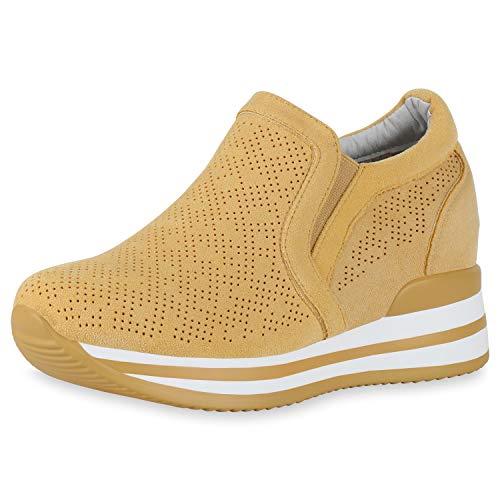 SCARPE VITA Damen Sneaker Wedges Keilabsatz Schuhe Cut Out Slip Ons Keilsneaker Plateau Freizeitschuhe Profilsohle Turnschuhe 190358 Gelb 38