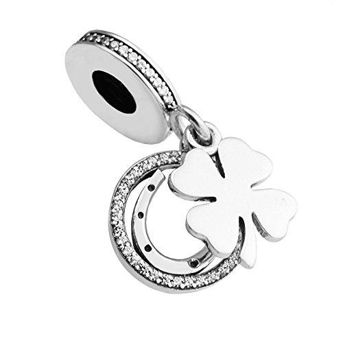 BAKCCI - Ciondolo in argento 925 con zirconia cubica trasparente, adatto per braccialetti originali e alla moda