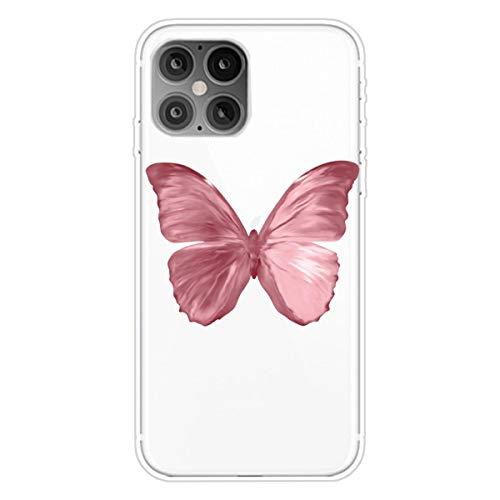 """Nadoli Transparent Silikon Hülle für iPhone 12 Pro Max 6.7"""",Durchsichtig Klar Lustig Kreativ Leicht Dünn Weiche Stoßfest Handyhülle Schutzhülle mit Rot Schmetterling Muster"""