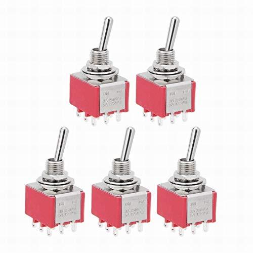 5Pcs AC 125V / 5A 250V / 3A ON/ON 2 posiciones 9 terminales Interruptor de palanca 3PDT