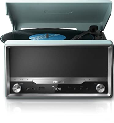 Philips OTT2000 Turntable LP Vinyl Record CD Player Bluetooth Micro Sound System