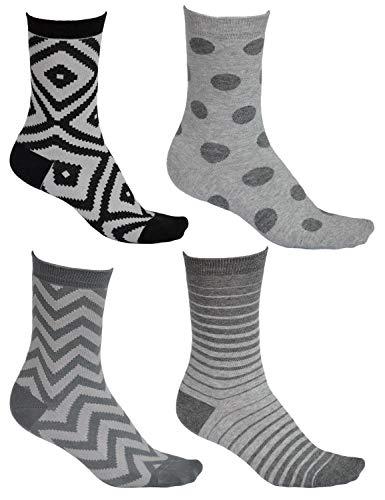 vitsocks Damen Socken Gemustert (4x Set) aus BAUMWOLLE, Punkte Streifen & Geometrie Muster, JOY, 39-42