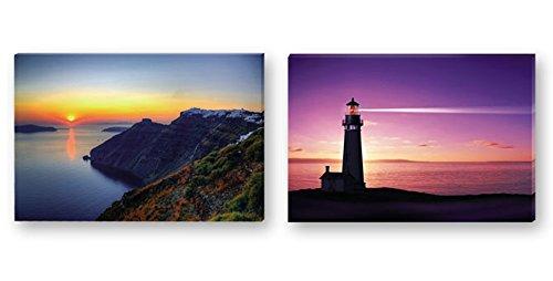 Dakota Cuadro con Luz LED. Cuadro en Lienzo Impreso Calidad fotográfica. 60x40 cm. 2 diseños: Puesta de Sol o Faro 1 Unidad