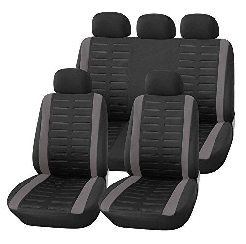 Upgrade4cars Auto-Sitzbezüge Set Universal | Auto-Schonbezüge Schwarz Grau mit Teilbarer Rückbank | Auto-Zubehör Innenraum