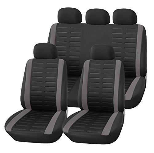 Upgrade4cars Car Seat Covers Full Set in Black and Grey Universal Carseat Protectors for Front and Rear with Split Back Function Automotive Accessories Interior