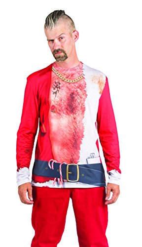 Faux Real Men's 3D Photo-Realistic Ugly Christmas Sweater Long Sleeve T-Shirt, Bad Santa, Medium