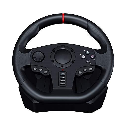 WSMLA Degré de Jeu de Conduite Vibration Motor Racing Wheel avec Vitesse Responsive et pédales for PC / PS3 / PS4 / Xbox One/Xbox 360 / Nintendo Switch/Android