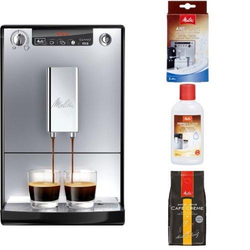 Melitta Starter Pack: E 950-103 Kaffeevollautomat Caffeo Solo mit Vorbrühfunktion, silber/schwarz + Entkalker + Milchreiniger + Professional Café Crème