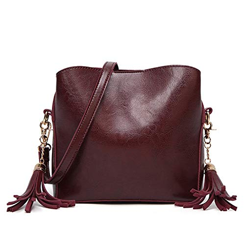 Genuine leather Handbag red crossbody bags for women Fashion Brown Shoulder bag Ladies Mini New Tassel Satchel Purse,Coffee,19x8x17.5