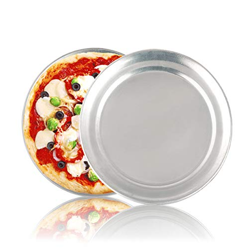 2 Pack Non-Stick Pizza Pan Bakeware, 8 inch Pizza Tray Aluminum Round Pizza Baking Sheet Oven Tray, Dishwasher Safe Pizza Serving Tray Circle Pizza Pan Set for Oven Baking
