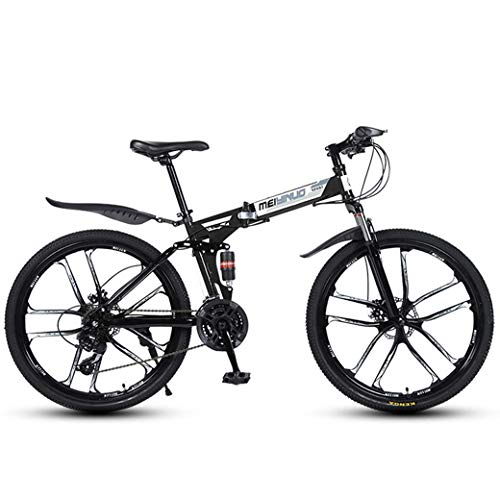 ZTYD 26In 24-Speed Mountain Bike for Adult, Lightweight Aluminum Full Suspension Frame, Suspension Fork, Disc Brake,Black,E