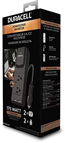 Duracell DRINVPS175 Black 175 Watt Portable Power Inverter