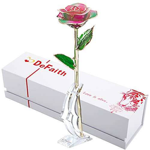 DEFAITH 24K Gold Dipped Real Rose Gifts, Best Wedding Anniversary Valentines Day Love Gift for Her Wife Girlfriend Spouse, Rainbow with Stand