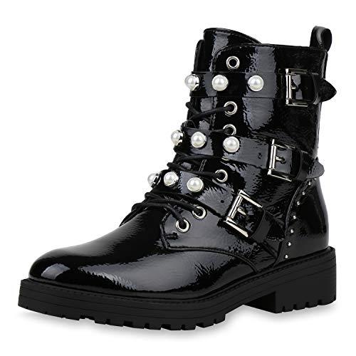 SCARPE VITA Damen Stiefeletten Schnürstiefeletten Leicht Gefütterte Stiefel Leder-Optik Zierperlen Schuhe 187536 Schwarz Schwarz Lack 36