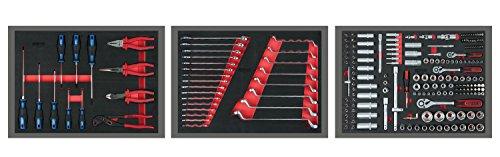 KS Tools 713.0215 Universal-Systemeinlagen-Satz für 3 Schubladen mit 215 Premium-Werkzeugen