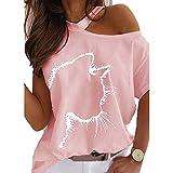 Moda Casual Primavera Y Verano Estampado De Gato Fuera del Hombro Camiseta Suelta Mujer