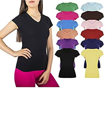 Women's 5 & 10 Pack Casual & Active Cotton Stretch V Neck Short Sleeve Shirts