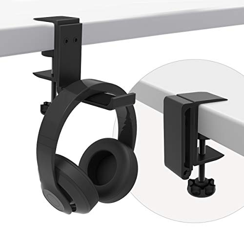 Foldable Headphone Stand Hanger Holder Bracket Aluminum Headset Soundbar Stand Clamp Hook Under Desk Space Save Mount Fold Upward Not in Use, Universal Fit All Headphones, Black