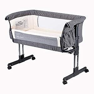 Mika Micky Bedside Sleeper Bedside Crib Easy Folding Portable Crib,Grey