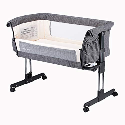 Product Image of the Mika Micky Bedside Sleeper Bedside Crib Easy Folding Portable Crib,Grey