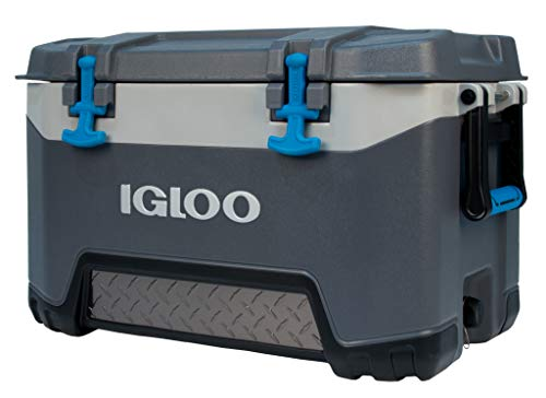 Igloo BMX 52 Quart Cooler with Cool Riser Technology, Fish Ruler, and Tie-Down Points – 16.34 Pounds – Carbonite Gray and Blue