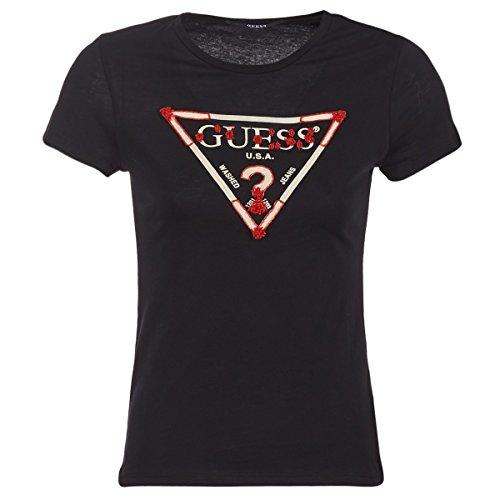 Guess Damen Ss Cn Baguette Tee Sport Shirt, Schwarz (Jet Black A996), Large
