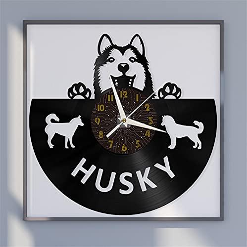 Husky Perro Tema Vinilo Record Reloj de Pared, Reloj de Pared para la Cocina Casa Sala de Estar Dormitorio Escuela Decoración Hecha a Mano para guardería Reloj Original de Dibujos Animados Reloj de