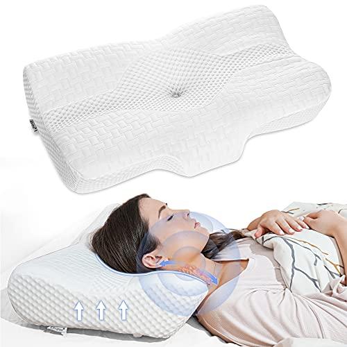Elviros Almohada de Espuma con Memoria de Contorno Cervical para el Dolor de Cuello, Almohadas para Cuello, 58 x 12/10 x 38 cm, Blanco