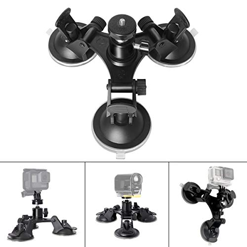 Triple Cup DSLR Camera Suction Mount w/Ball Head Compatible with Nikon Canon Sony DSLR/Camcorder + GoPro Hero 8 7 6 5/4/3 Sony Garmin Xiaomi Yi SJCAM Suction Cup Mount Car Mount Holder Window Mount