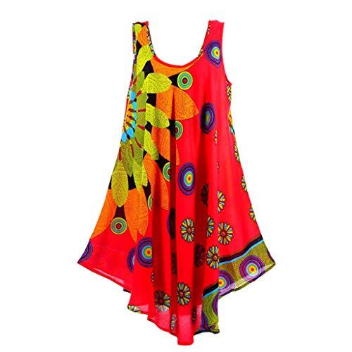 Routinfly Vestido de mujer bohemio maxi para mujer, vestido sexy para mujer, vestido informal, minivestido, moderno, talla grande, estilo étnico, estampado sin mangas