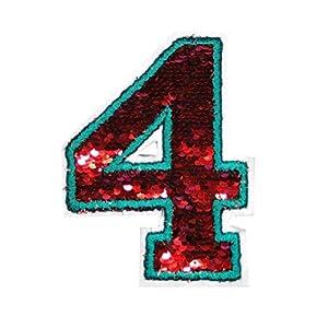 Aufnäher Buchstaben/Zahl, Wendepailletten,Aufnäher Wendepailletten rot/silber, 2 Stück