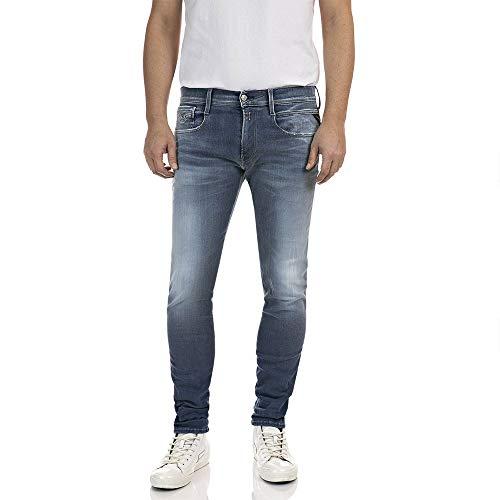 REPLAY Anbass Hyperflex Re-Used Jeans, 009 Azul Medio, 27 W / 32 L para Hombre