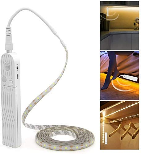 LED Under Cabinet Lighting Motion Sensor, CFGROW 10Ft Four Modes Bed Stairs Wardrobe Lamp Tape, Waterproof 5V USB LED Closet Night Strip Light(Warm White, 2Pack)