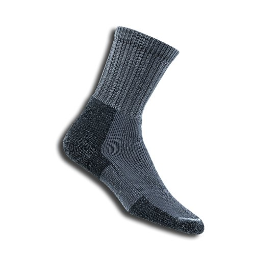 Thorlos Men'S Thick Cushion Hiking Crew Sock Size: M, Pewter with a Helicase Sock Ring